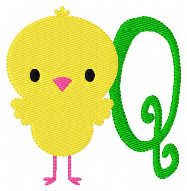 Spring Chick Monogram Embroidery Design Set