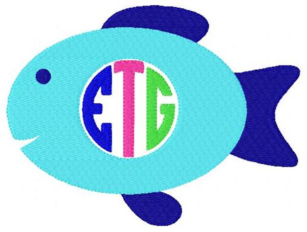 Fish 3 Letter Circle Monogram Set