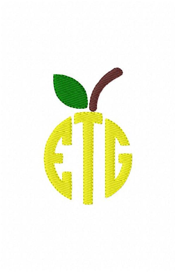 Apple for the Teacher 3 Three Letter Circle Monogram Set