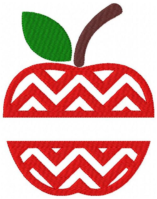 Apple Chevron Split Embroidery 5x7 Design Set