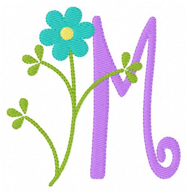 Spring Flower Monogram Embroidery Design Set