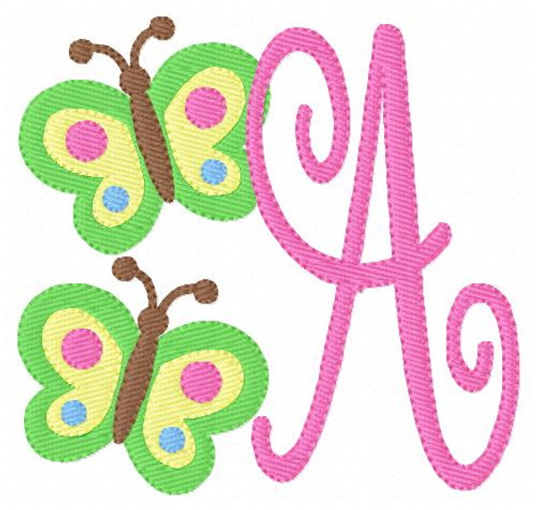 Butterfly Twin Monogram Embroidery Design Set