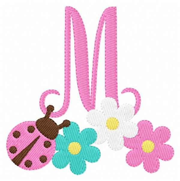 Ladybug & Daisies Monogram Embroidery Font Set