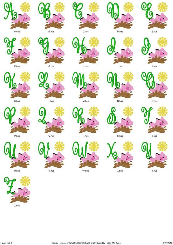 Muddy Piggie Farm Pig Machine Embroidery Monogram Font Set