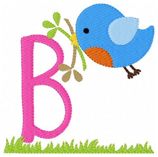 Robin Spring Bird Monogram Embroidery Design Set