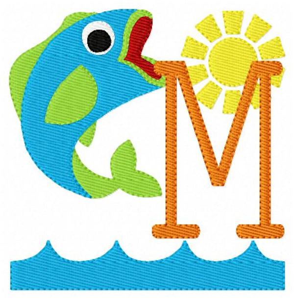 Gone Fishing Machine Embroidery Monogram Designs