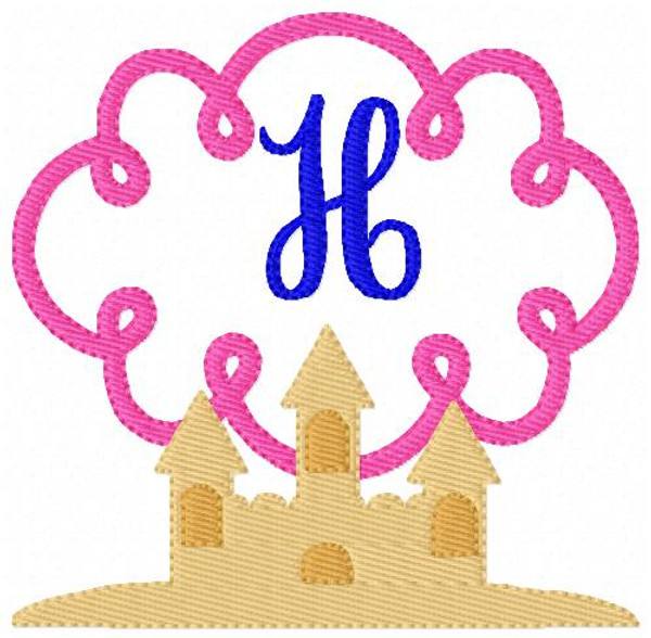 Sand Castle Summer Swirl Monogram Embroidery Design Set