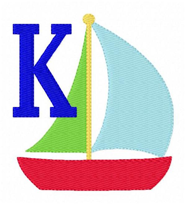 Sailboat Summer Monogram Machine Embroidery Designs