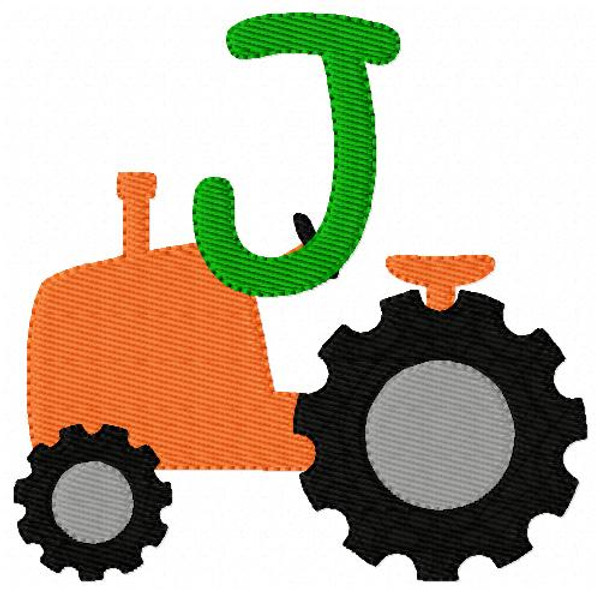 Orange Tractor Monogram Embroidery Font Design Set