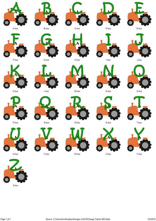 Orange Tractor Monogram Embroidery Font Design Set