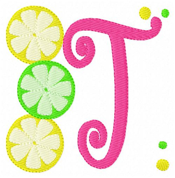 Lemon Lime Lemonade Summer Monogram Embroidery Design Set