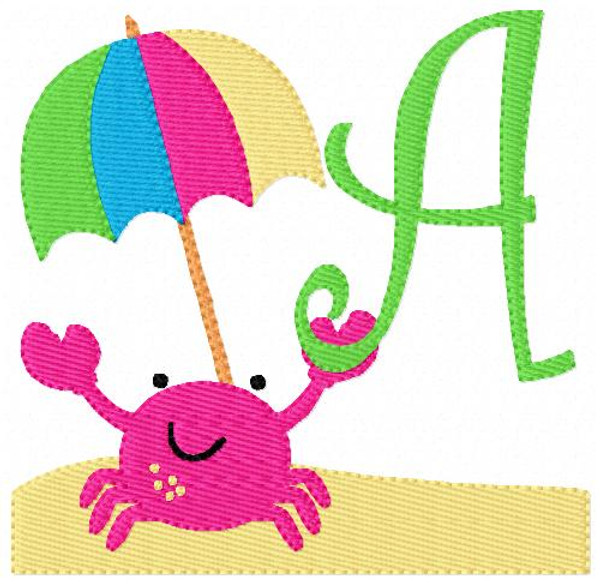 Crab Beach Summer Monogram Machine Embroidery Design Set