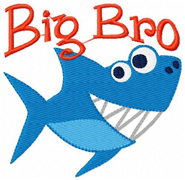 Shark Big Bro Brother Embroidery Design
