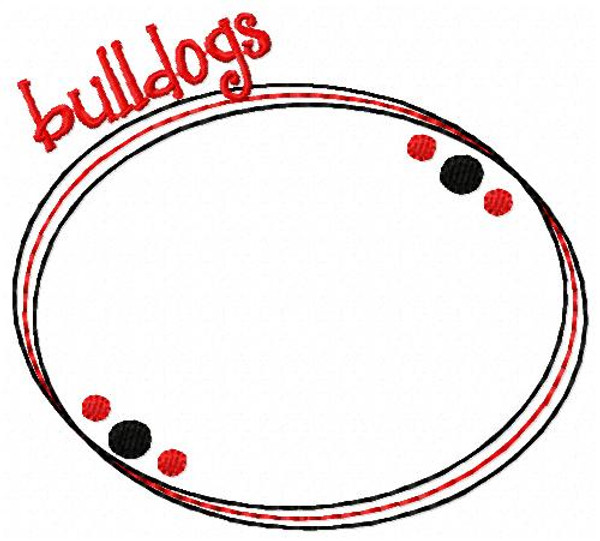 Bulldogs 3 Letter Oval Monogram Embroidery Design Set