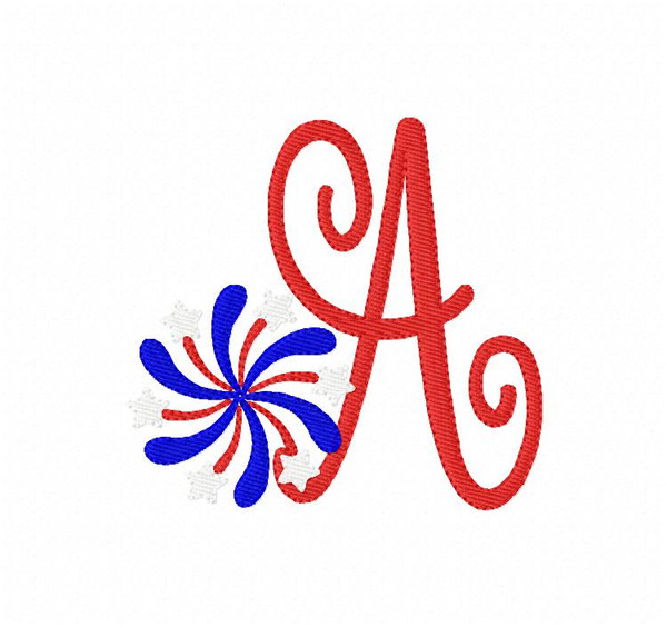 July 4th, Summer, Patriotic, Fireworks, Monogram Embroidery Design Set