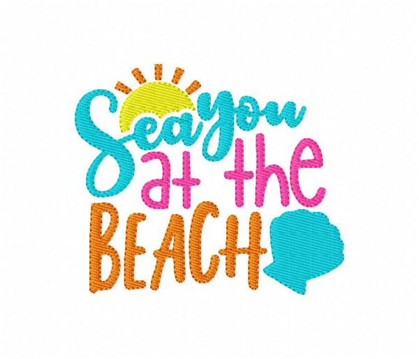 Sea You at the Beach Machine Embroidery Design