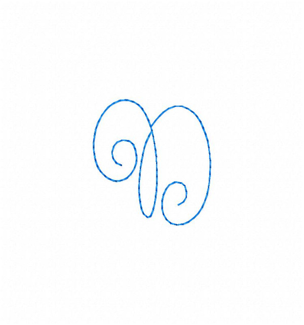 Cute Curly Thin Line Monogram Machine Embroidery Font Design Set