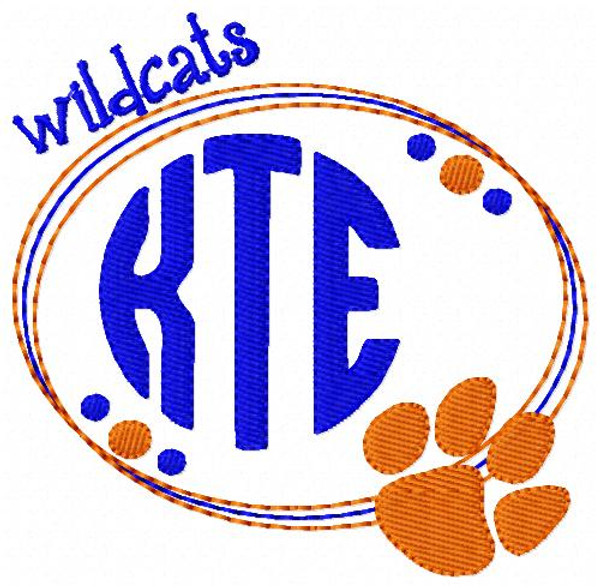 Wildcats 3 Letter Monogram Embroidery Sports Design Set