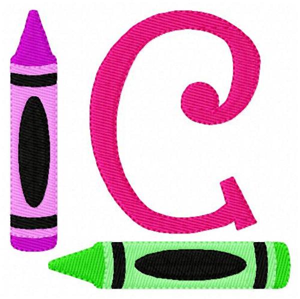School Preschool Crayon Monogram Embroidery Font Design Set
