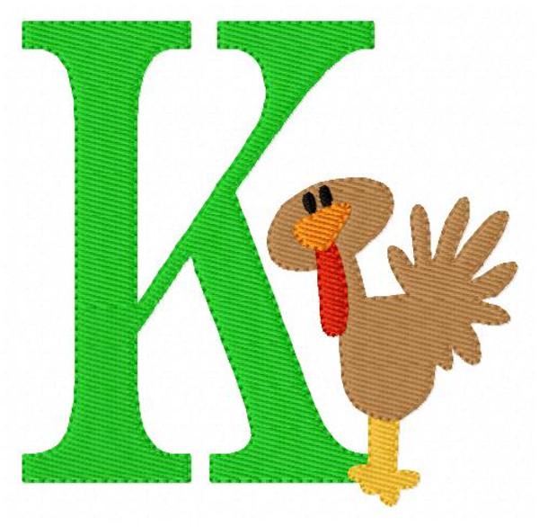 Thanksgiving Turkey Monogram Embroidery Font Design Set
