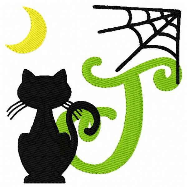 Black Cat Fall Halloween Monogram Embroidery Font Design Set