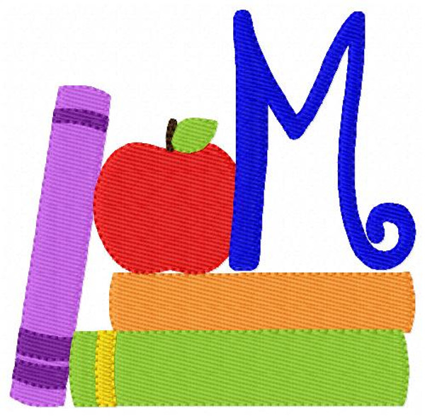 School Monogram Embroidery Design Set