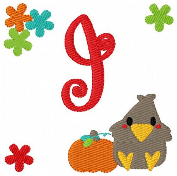 Fall Autumn Harvest Monogram Embroidery Design Set