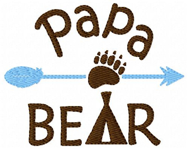 Papa Bear Machine Embroidery Design
