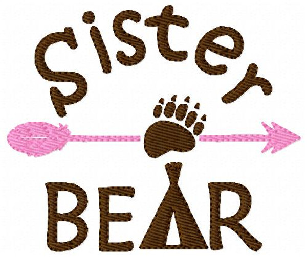 Sister Bear Embroidery Design