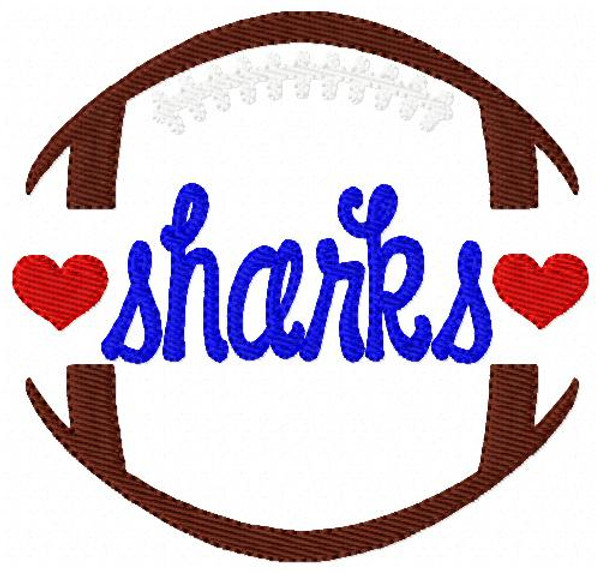 Sharks Football Sports Machine Embroidery Design