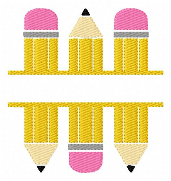 Pencil School Split Machine Embroidery Design Set