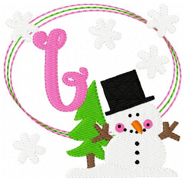 Snowman Fun Machine Embroidery Monogram Font Design Set