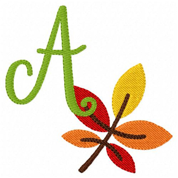 Autumn Fall Leaves Monogram Embroidery Design Set