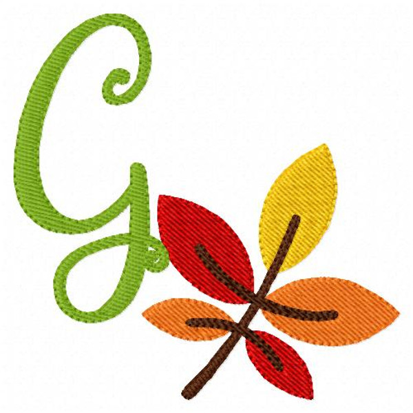 Autumn Fall Leaves Monogram Embroidery Design Set