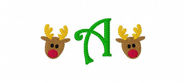 Reindeer Mini Monogram Christmas Embroidery Design Set