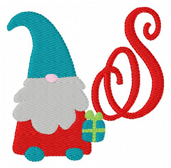 Christmas Gnome with Gift Monogram Machine Embroidery Design Set