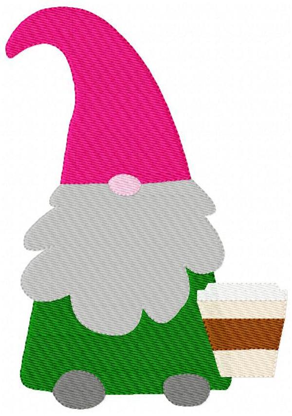 Gnome with Coffee Machine Embroidery Design