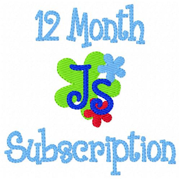 Twelve (12) Month Monogram Embroidery Design Subscription