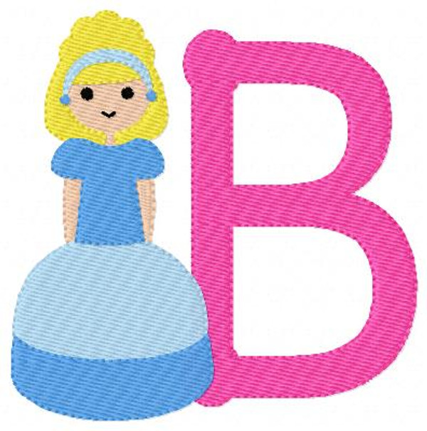 Princess in Blue Machine Embroidery Monogram Design Set