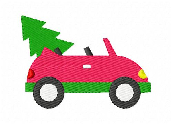 Convertible Car with Christmas Tree Embroidery Design