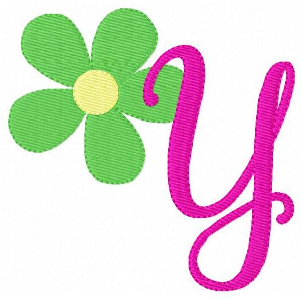 Daisy Flower Happy Machine Embroidery Monogram Design Font Set