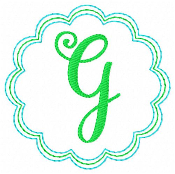 Scallop Circle Pretty Machine Embroidery Monogram Design Set