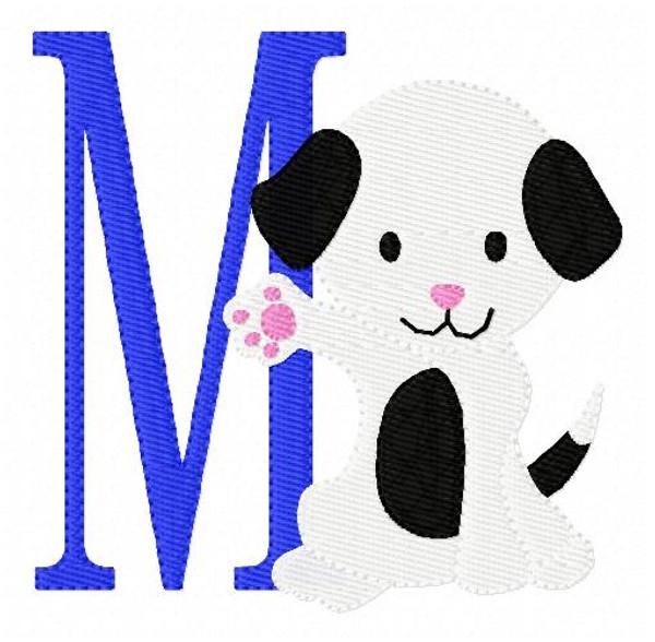 Puppy Monogram Embroidery Design Set
