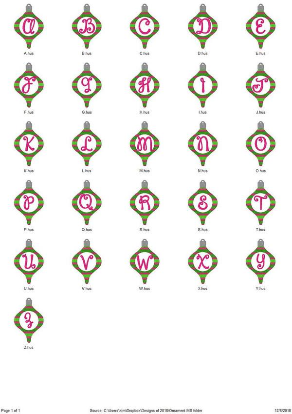 Christmas Tree Ornament Monogram Embroidery Design Font Set