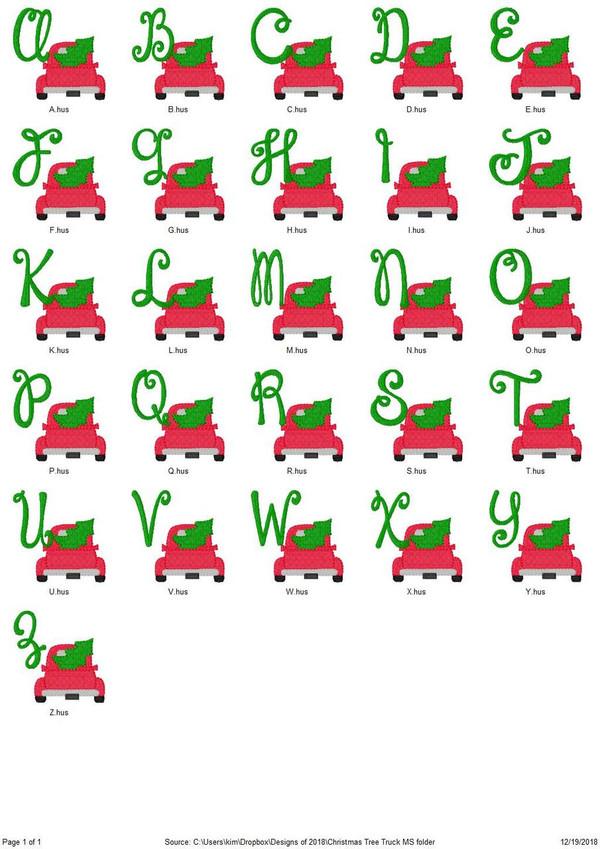 Christmas Tree Truck Machine Embroidery Monogram Font Design Set