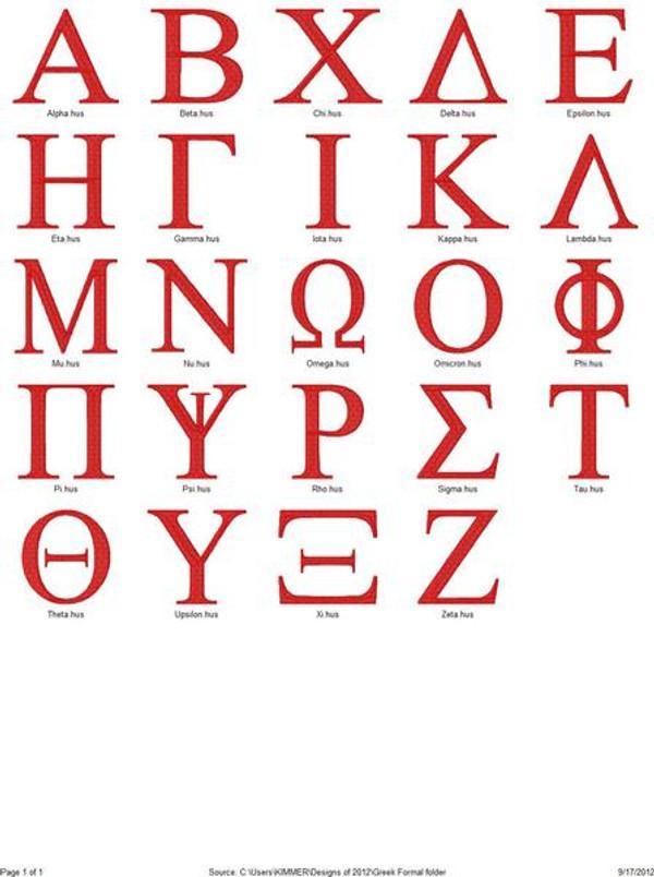 Greek Letters Formal Collegiate Monogram Set