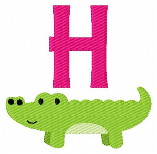 Alligator Gator Preppy Monogram Embroidery Font Design Set