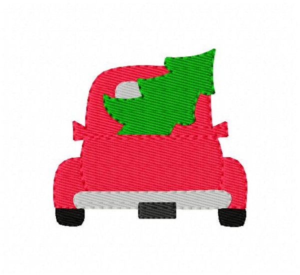 Red Truck with Christmas Tree Machine Embroidery Design, 2 sizes included