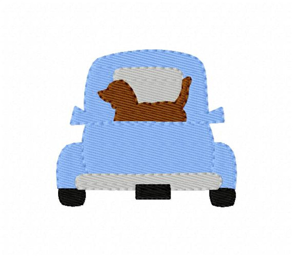 Truck with Retriever Dog Machine Embroidery Design, 2 sizes included