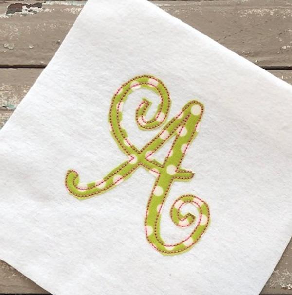 Happy Swirl Applique Bean Stitch Monogram Embroidery Font Design Set